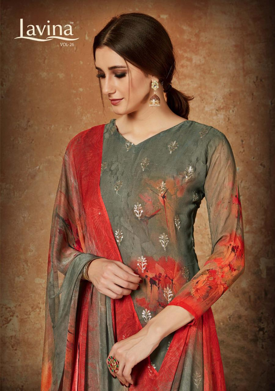 Lavina Suits Lavina Vol 26 Pure Georgette Digital Print  With Sequence Work Dress Material At Wholesale Rate