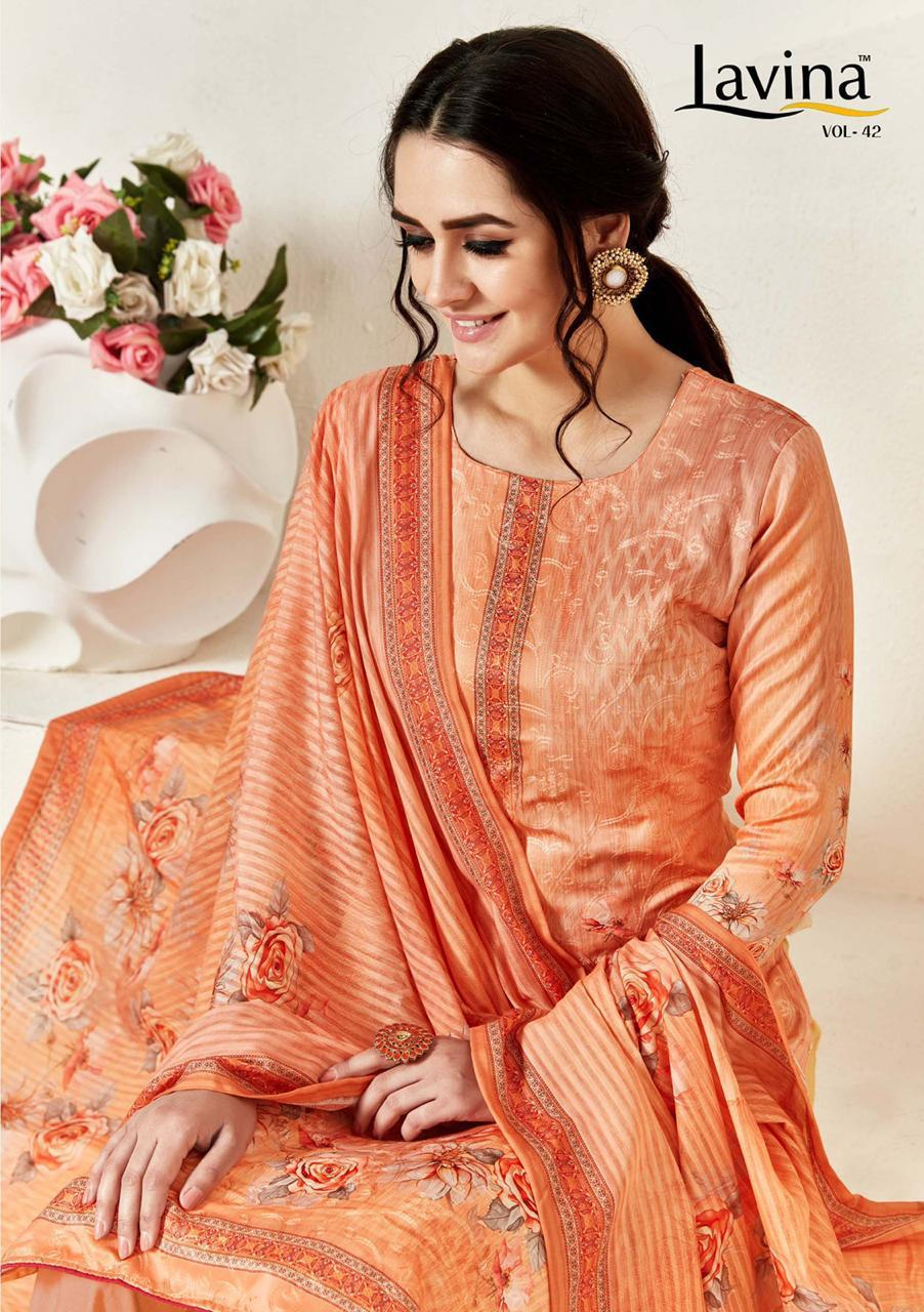 Lavina Vol 42 Designer Digital Printed Cotton Satin With Embroidery Work Dress Material At Wholesale Rate