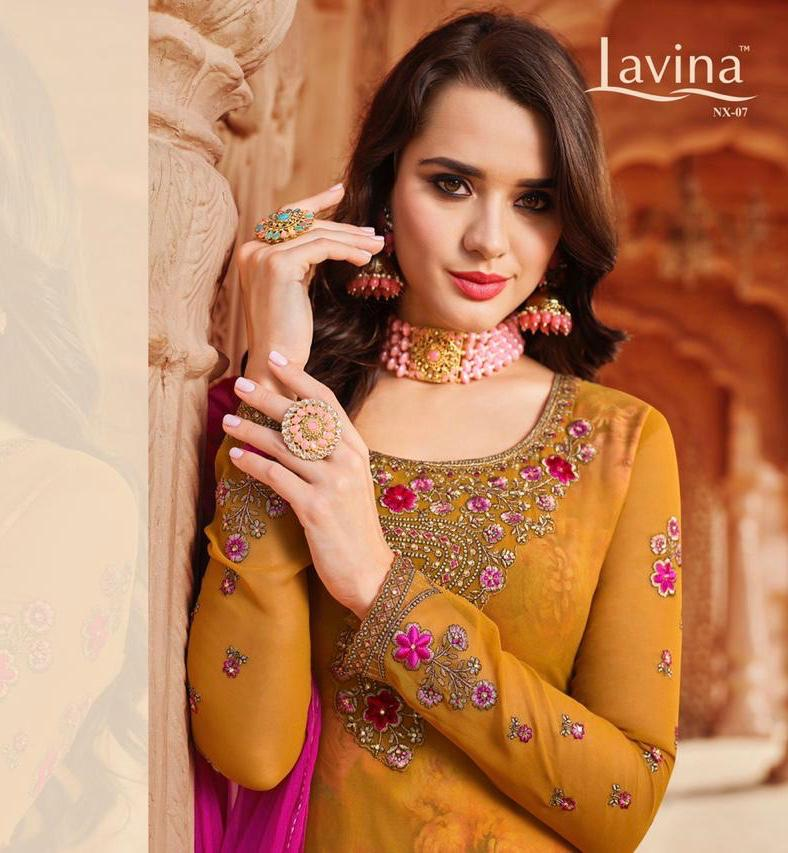 Lavina Suits Vol 7 Nx Georgette With Embroidery Work Dress Material At Wholesale Rate