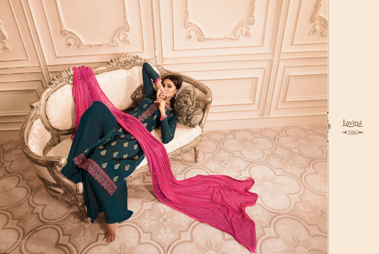 Lavina Vol 92 Designer Pure Dola Silk With Embroidery Work Straight Heavy Dress Material At Wholesale Rate