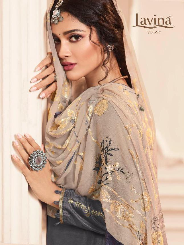 Lavina Vol 93 Pure Dola Jacquard With Embroidery Work Dress Material At Wholesale Rate
