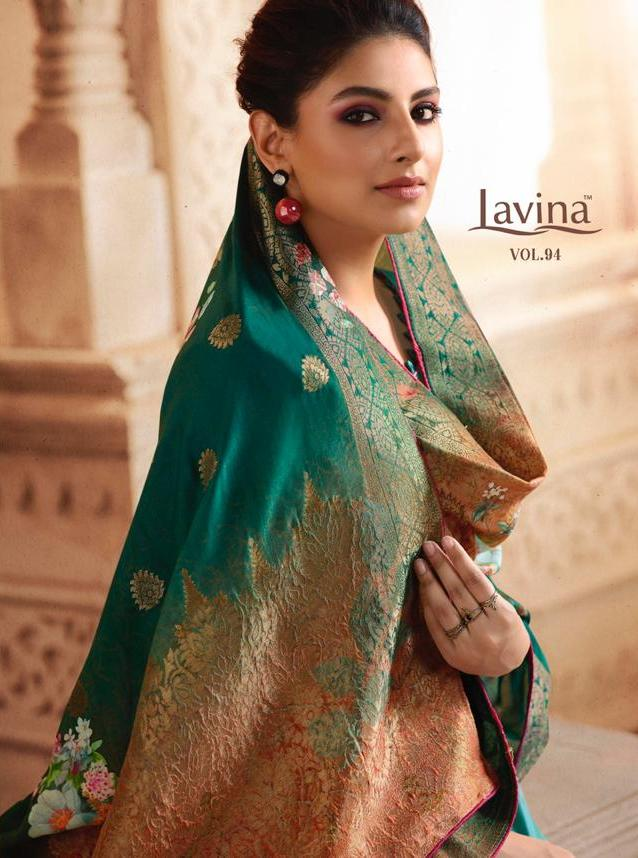 Lavina Vol 94 Tusser Silk Satin With Embroidery Work Dress Material Collection At Wholesale Rate