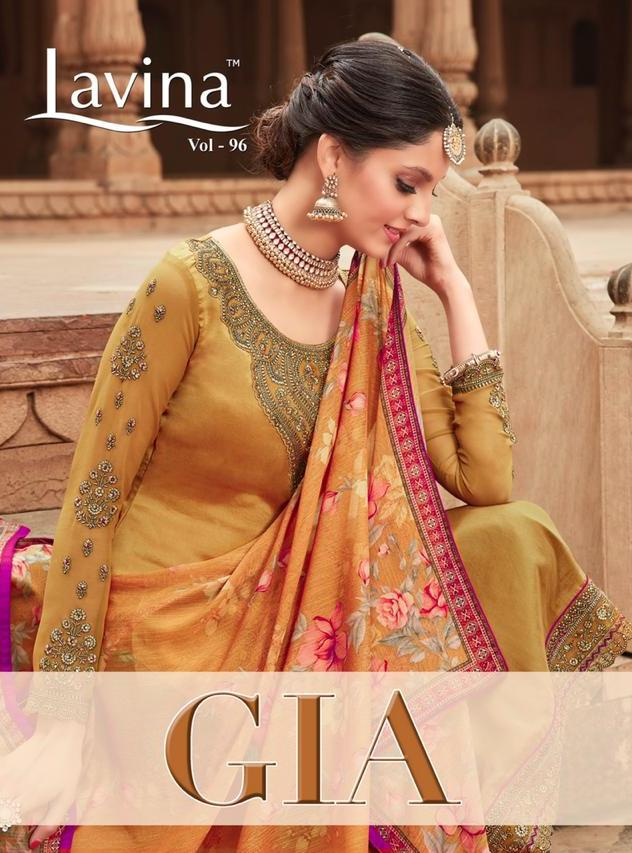 Lavina Vol 96 Gia Crepe With Embroidery Work Party Wear Dress Material Manufacturer
