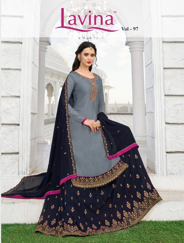 Lavina Vol 97 Satin Georgette With Embroidery Work Salwar Kameez Collection At Wholesale Rate