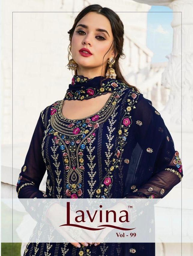 Lavina Suits Lavina Vol 99 Georgette With Embroidery Work Party Wear Dress Material At Wholesale Rate