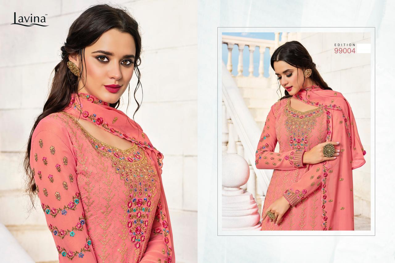 Lavina Vol 99 Designer Georgette With Embroidery Swarovski Work Dress Material Collection At Wholesale Rate