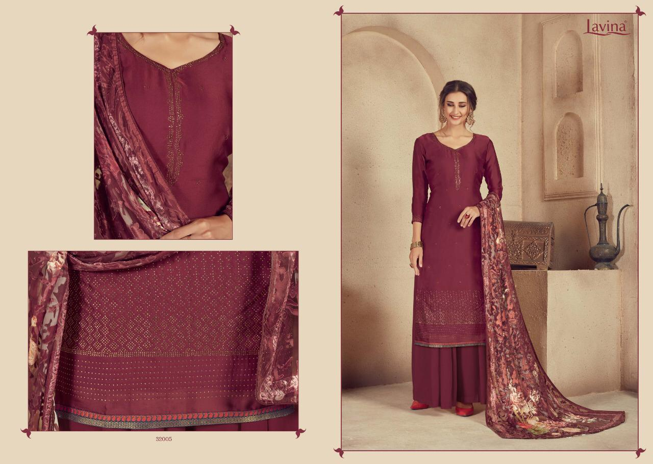 Lavina Vol 32 Designer Digital Printed Satin Georgette With Diamond Work Dress Material Collection At Wholesale Rate