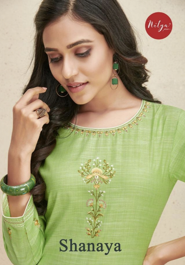 Lt Fabrics Nitya Shanaya Cotton With Fancy Embroidery Work Kurti With Palaazo Collection At Wholesale Rate