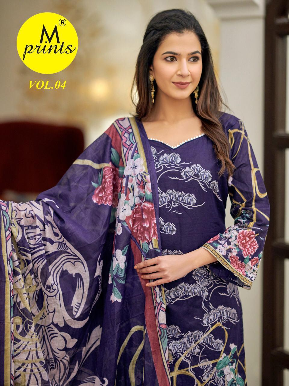 M Prints Vol 4 Cotton Printed Pakistani Dress Material Collection At Wholesale Rate
