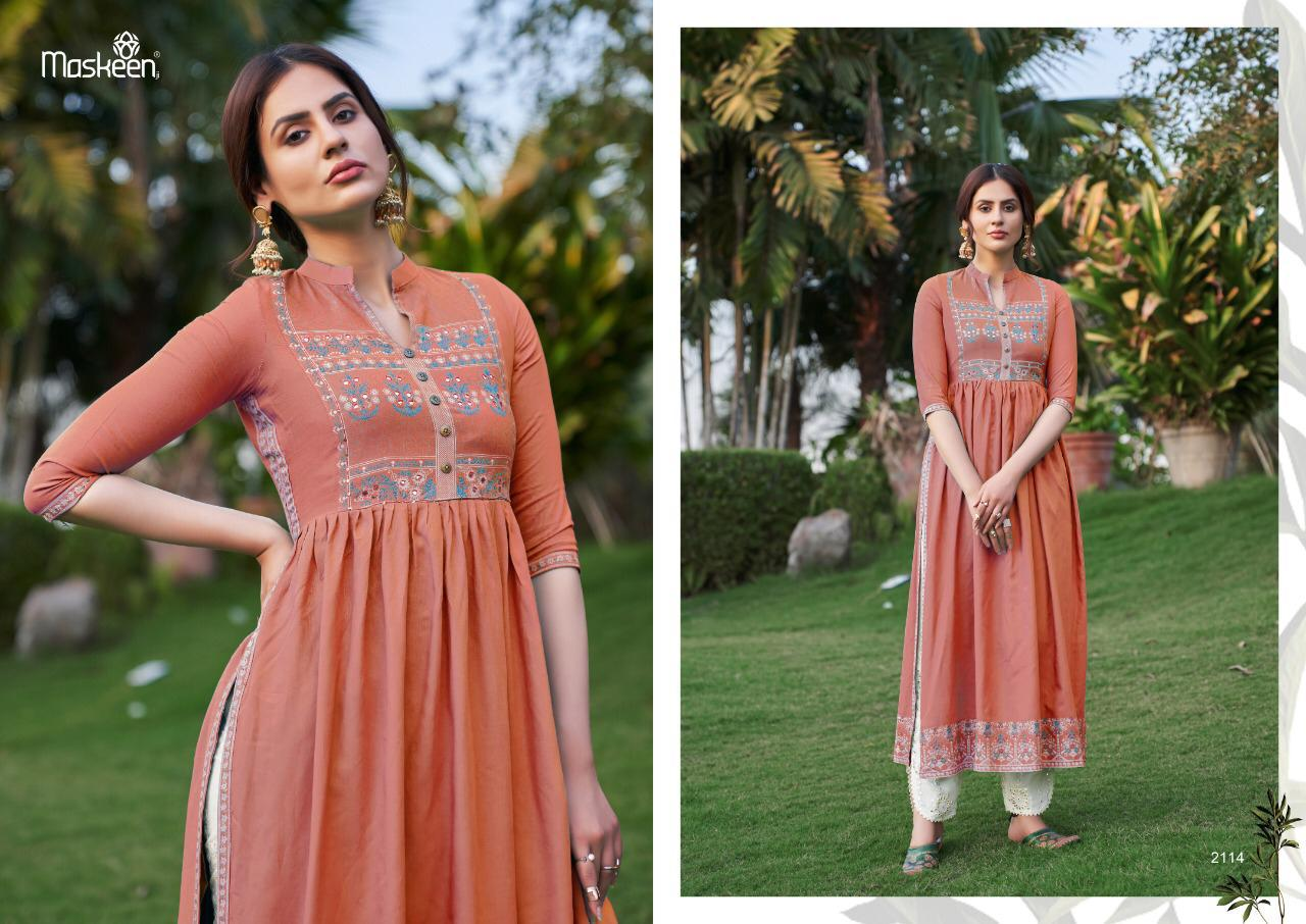 Maisha Maskeen Nazneen Vol 2 Heavy Rayon Print With Hand Work Kurtis With Pant Collection At Wholesale Rate