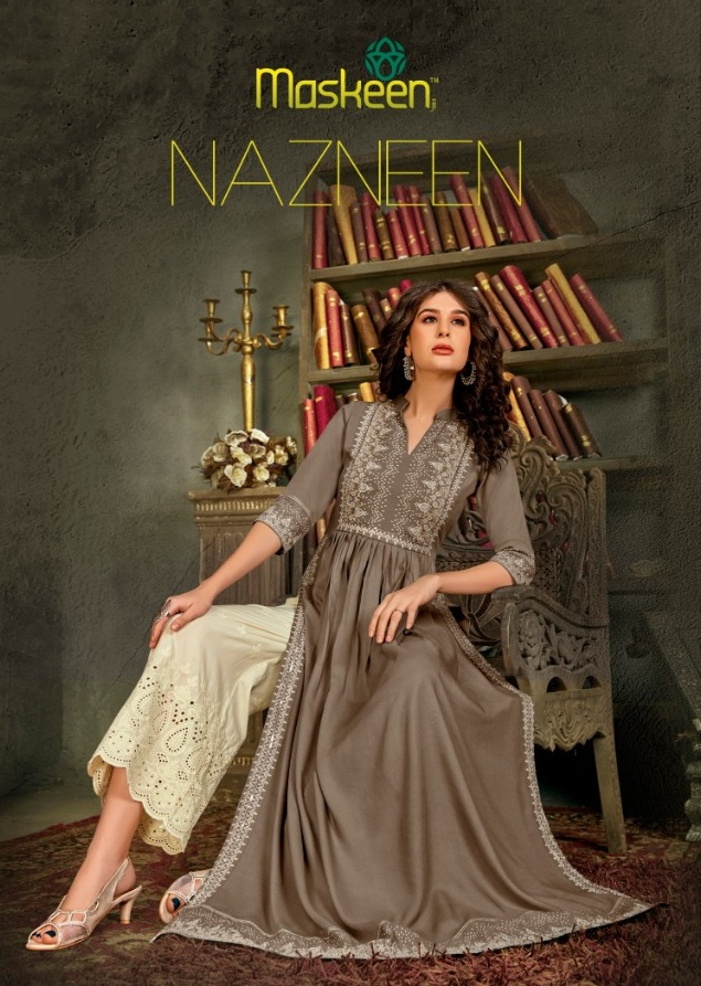Maisha Maskeen Nazneen Printed Pure Rayon With Embroidery Work And Lucknowi Work Readymade Kurtis With Bottom At Wholesale Rate