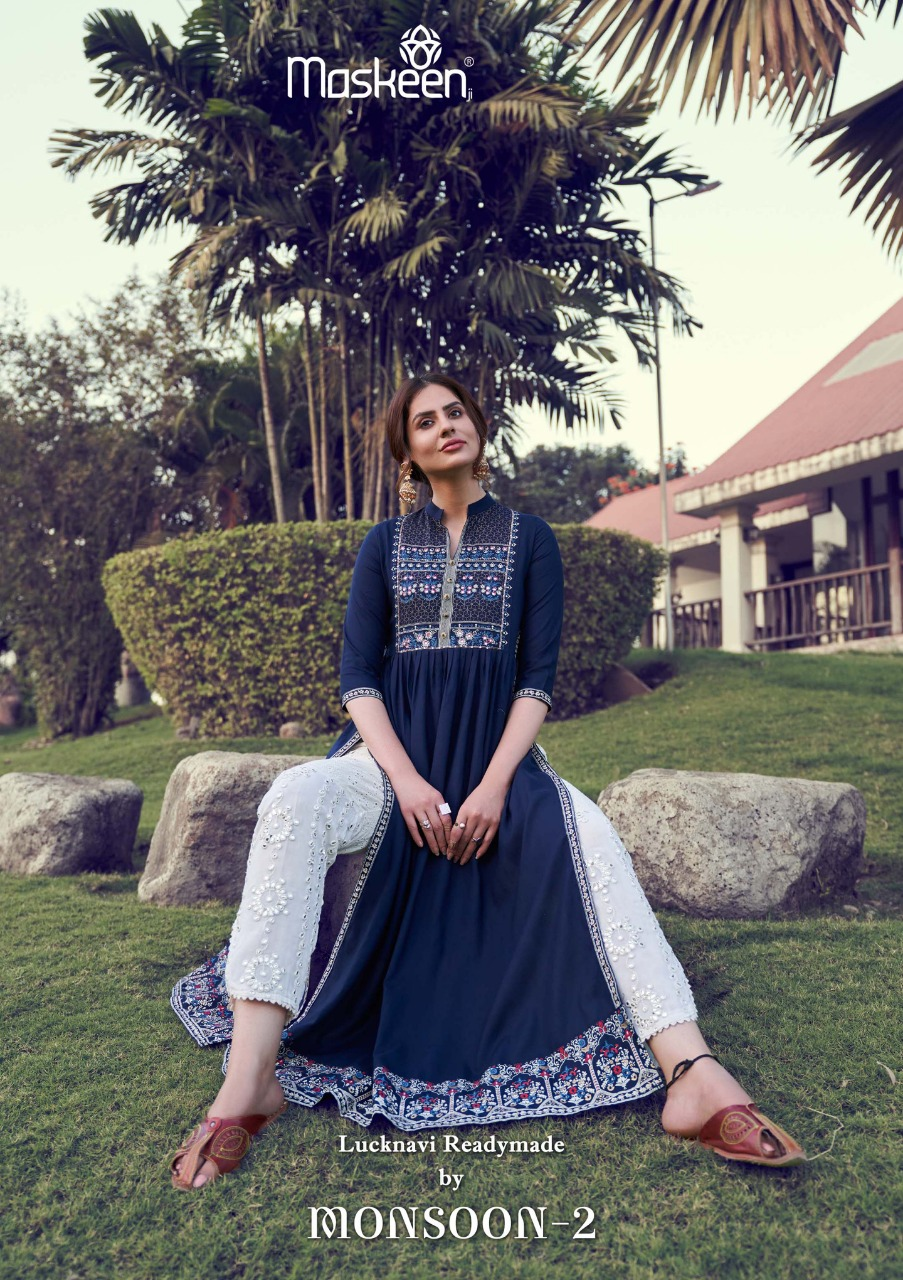 Maskeen Monsoon Vol 2 Heavy Rayon Print With Embroidery Hand Work Readymade Kurti With Bottom Collection