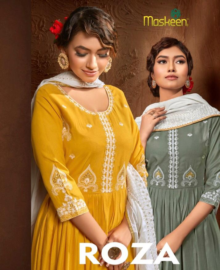 Maisha Maskeen Roza Heavy Rayon Cotton With Embroidery Work Readymade Sawlar Suits Collection At Wholesale Rate