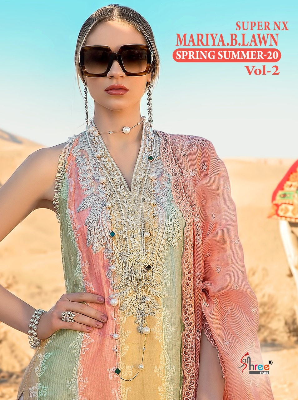 Shree Fabs Maria B Lawn Spring Summer 20 Vol 2 Super Nx Pure Cambric Cotton With Embroidery Work Pakistani Dress Material At Wholesale Rate