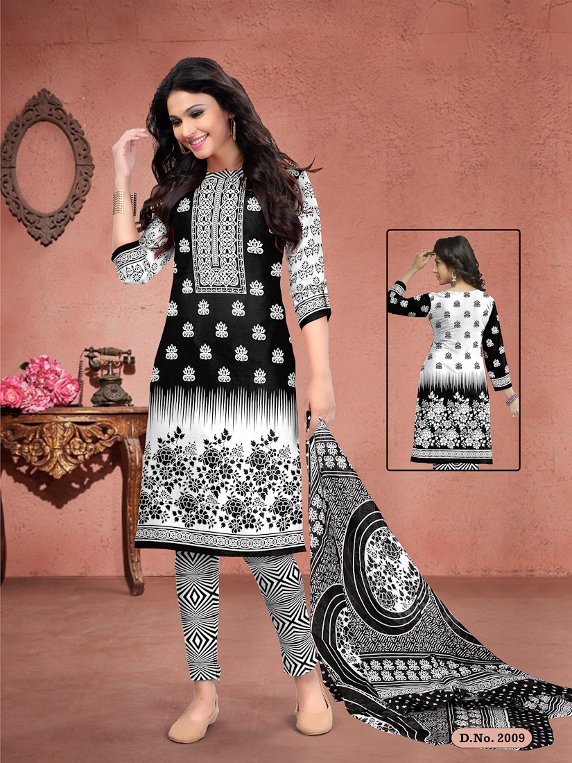 Meenaxi Black Queen Printed Cotton Regular Wear Black And White Dress Material Collection At Wholesale Rate