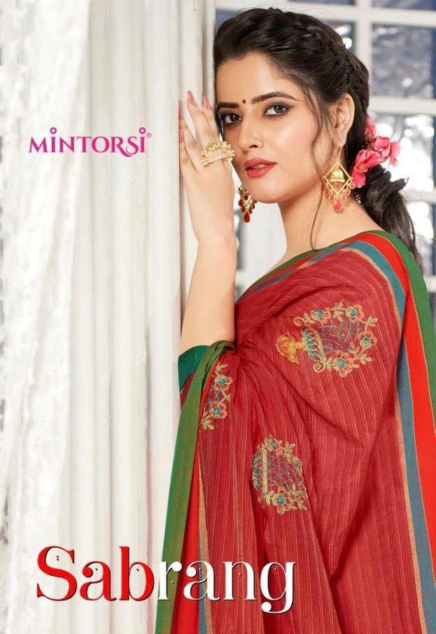 Varsiddhi Fashion Mintorsi Sabrang Cotton Silk With Embroidery Work Sarees Collection At Wholesale Rate