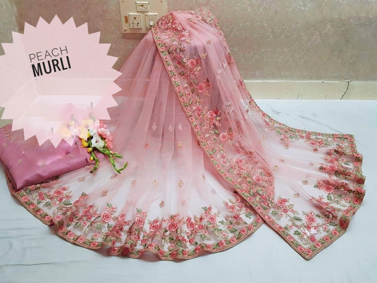 Murli Latest Designer Net With Heavy Embroidery Work Sarees Collection At Wholesale Rate