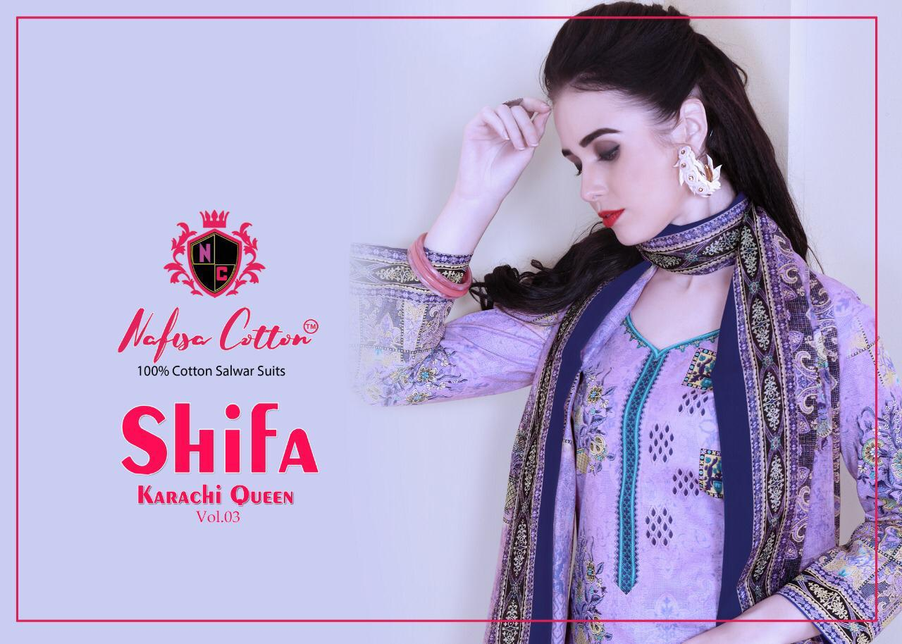 aeab75a326 Nafisa Cotton Shifa Karachi Queen Vol 3 Printed Cotton Dress Material at  Wholesale Rate | Ethnic Export