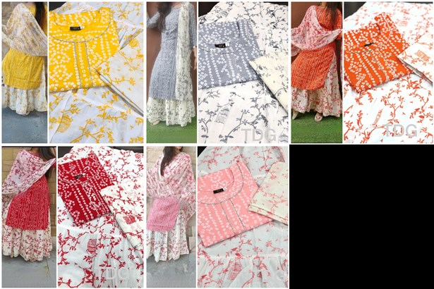 Latest Printed Pure Rayon Cotton With Work Readymade Top With Bottom And Dupatta Wholesale Collection Surat