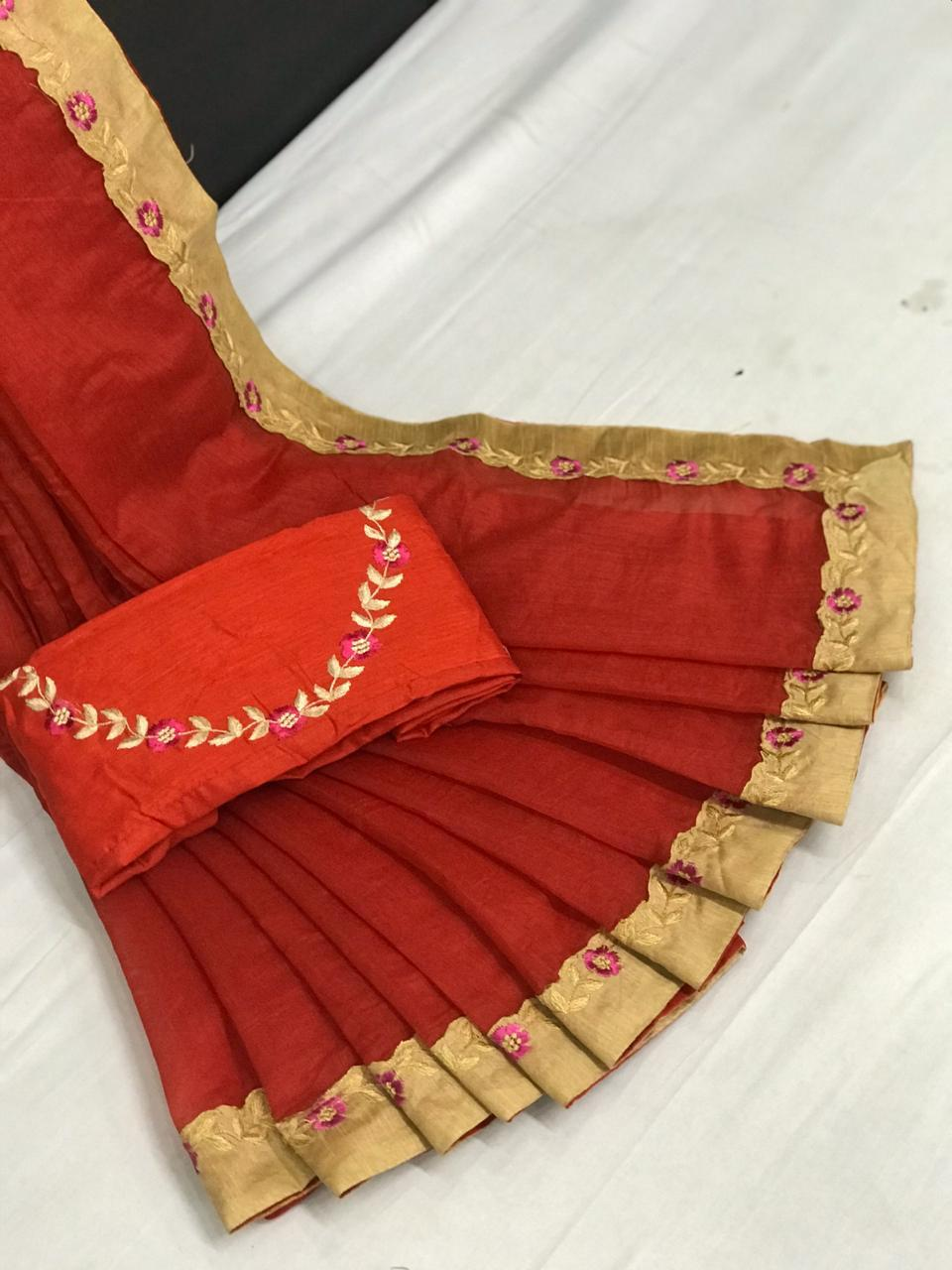 Non Catalog Chanderi Silk With Embroidery Work Sarees Collection At Wholesale Rate