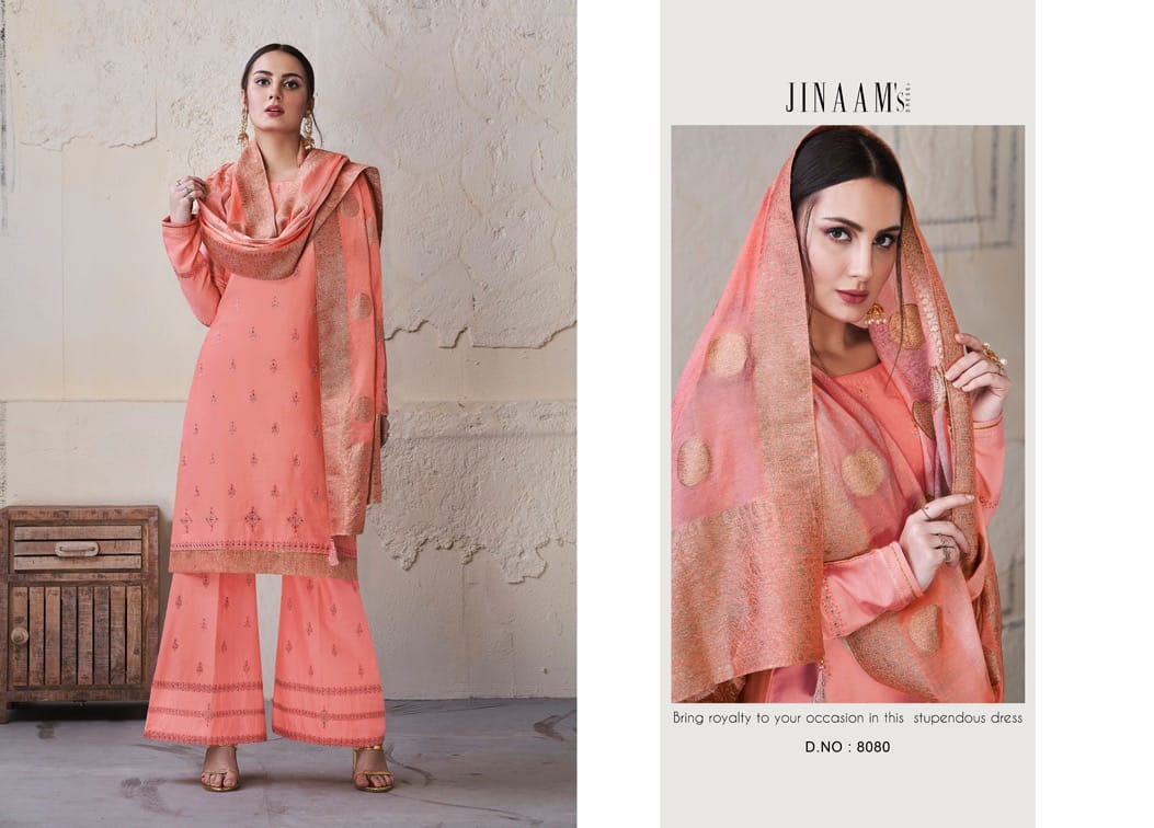 Jinaam's Dress Omisha Embroidered Lawn Cotton With Stone Work Dress Material At Wholesale Rate