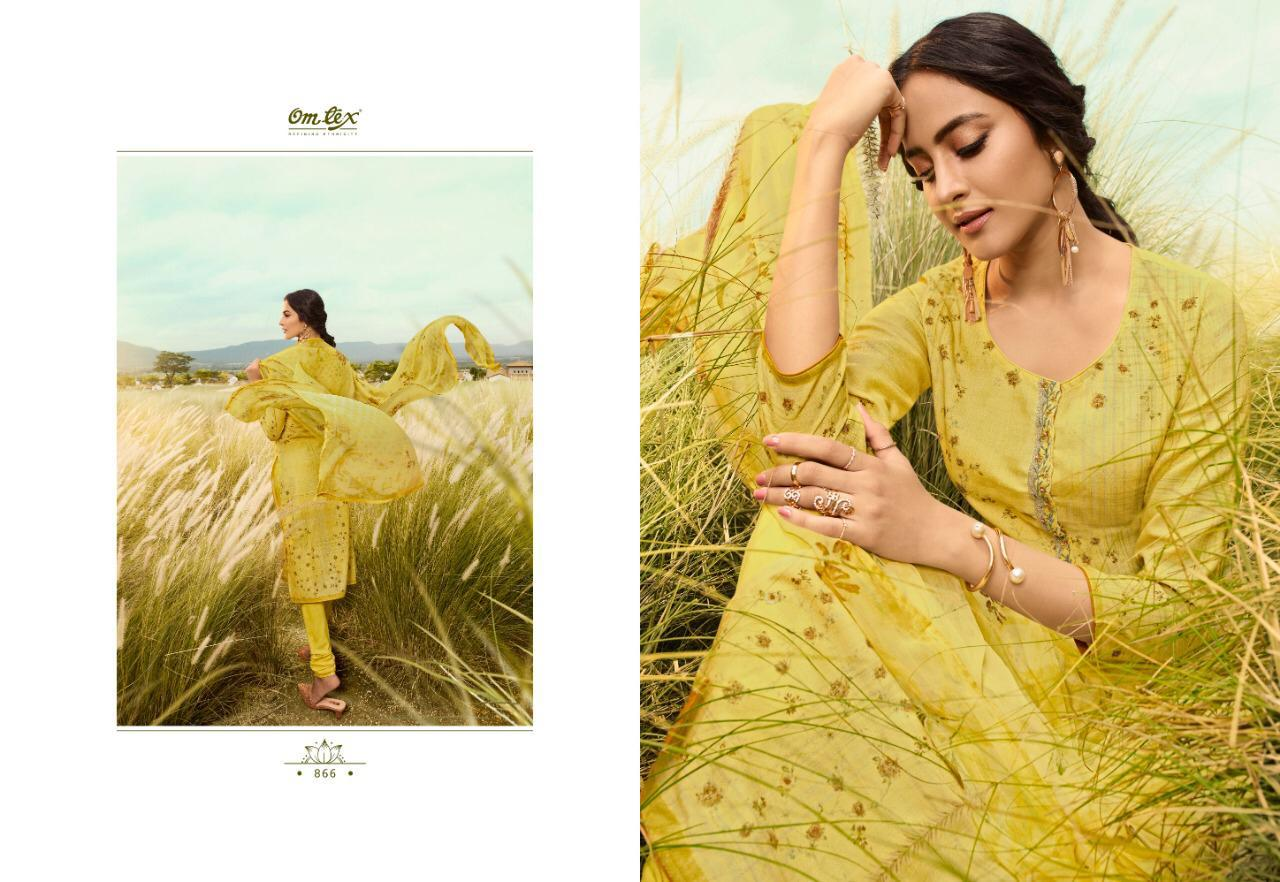 Omtex Muse 861-866 Series Pure Lawn Cross Stitch Cotton Embroidery With Digital Print And Handwork Dress Material At Wholesale Rate