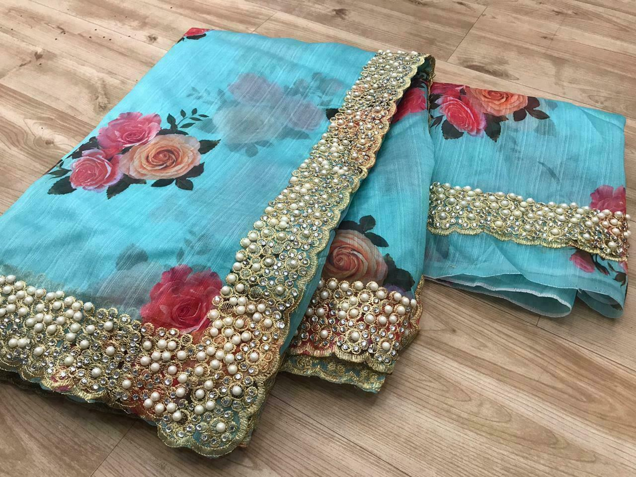 Organza Silk With Heavy Embroidery Work With Digital Print Sarees Collection At Wholesale Rate