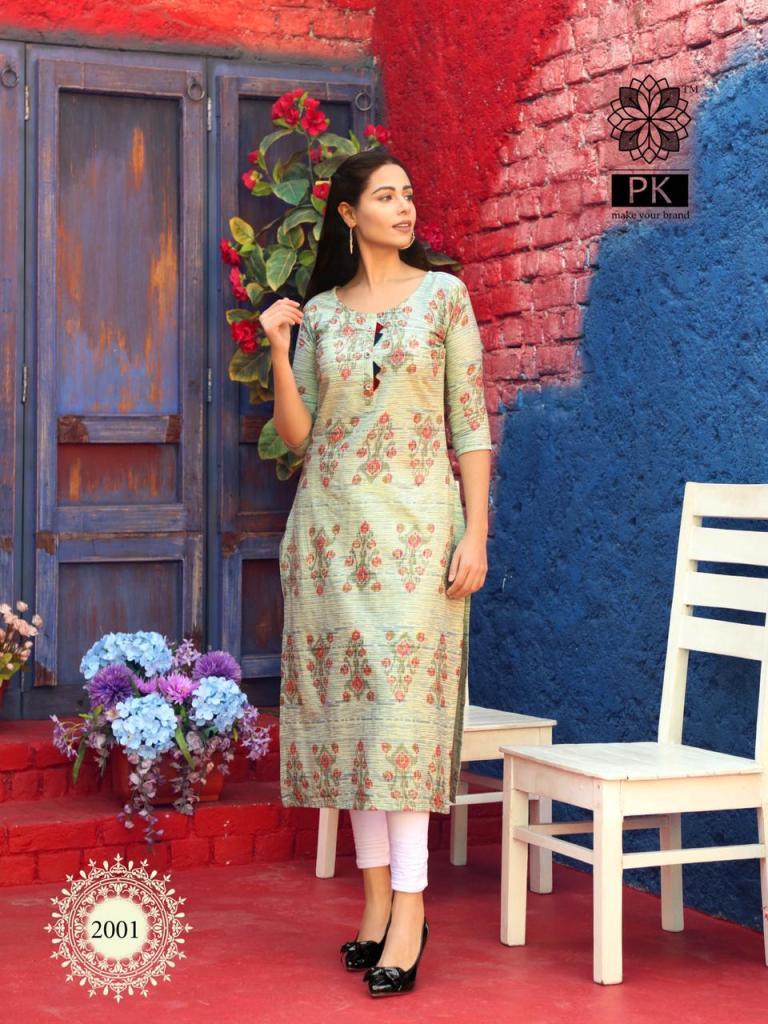 Pk Fashion Trend Vol 2 Printed Heavy Cotton Readymade Kurtis At Wholesale Rate