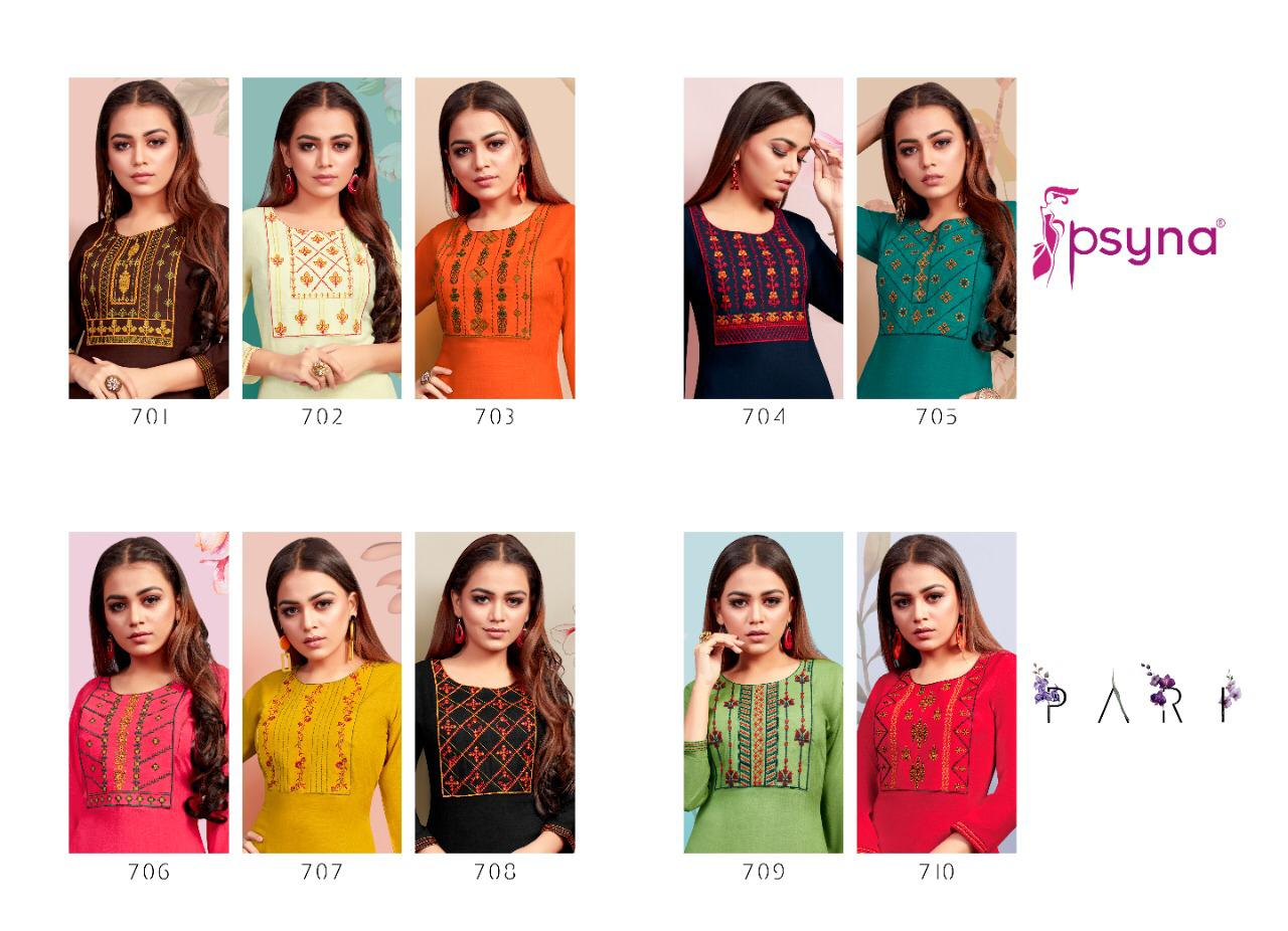 Psyna Pari Vol 7 Rayon Slub With Embroidery Work Readymade Kurtis Collection At Wholesale Rate