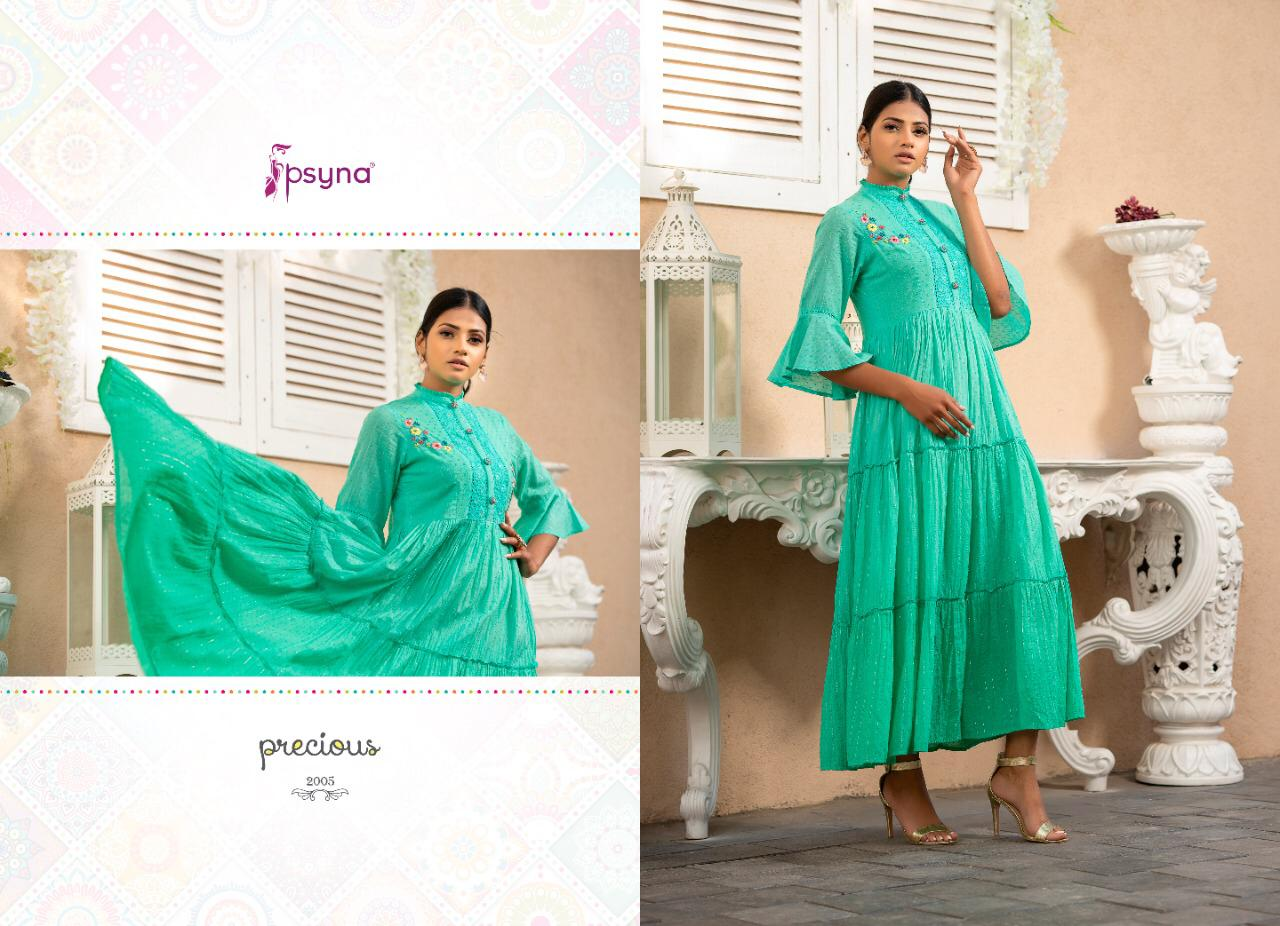 Psyna Precious Vol 2 Cotton With Work Long Flair Readymade Gown Type Kurtis At Wholesale Rate