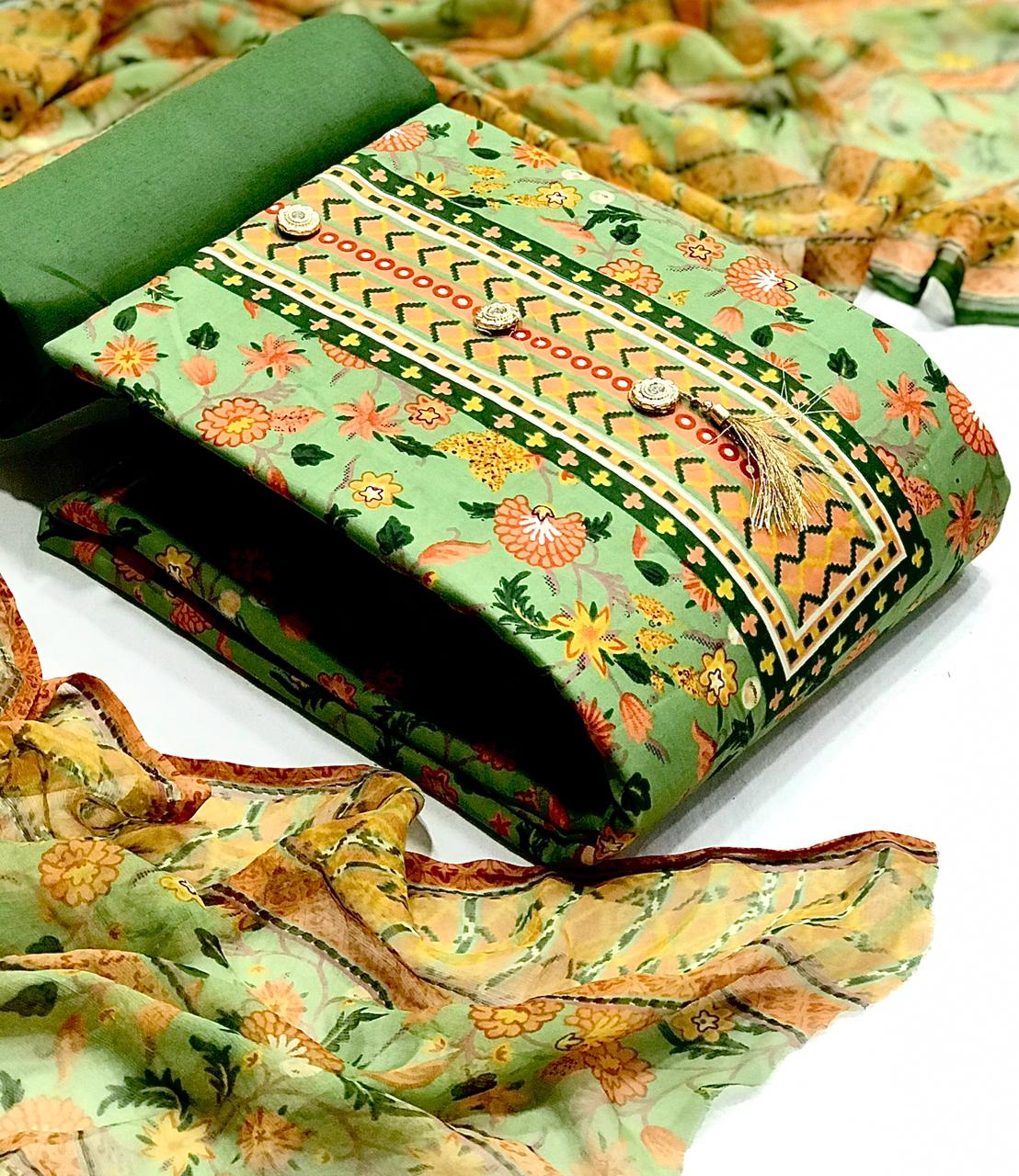 Heavy Cotton With Floral Print And Button And Tussels Dress Material Collection At Wholesale Rate