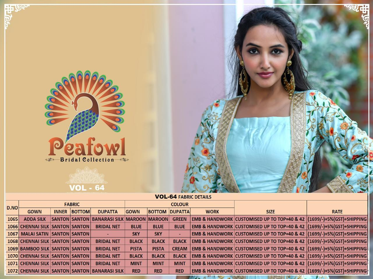 Peafowl Vol 64 Heavy Designer Chennai Silk Long Wedding Wear Suit Collection At Wholesale Rate