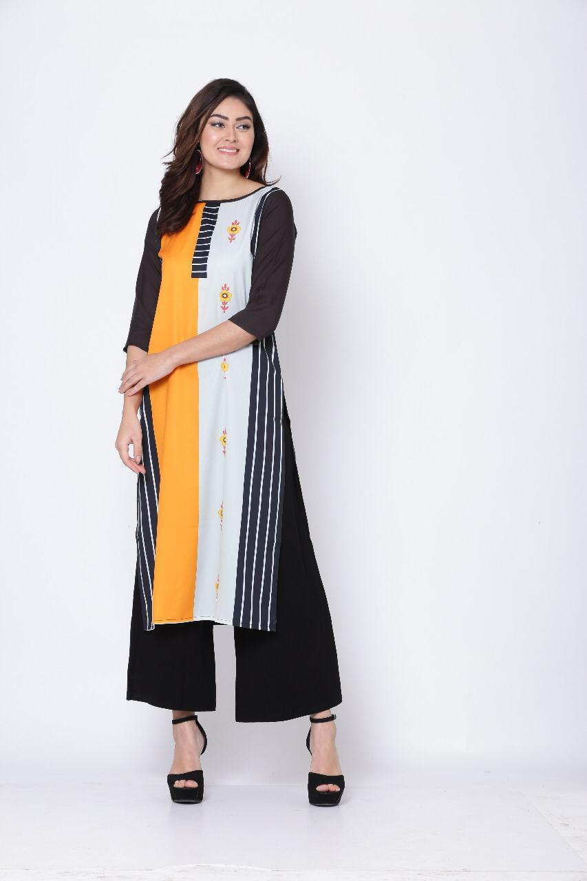 Fancy Designer Printed Heavy Crepe Straight Readymade Casual Kurtis At Wholesale Rate