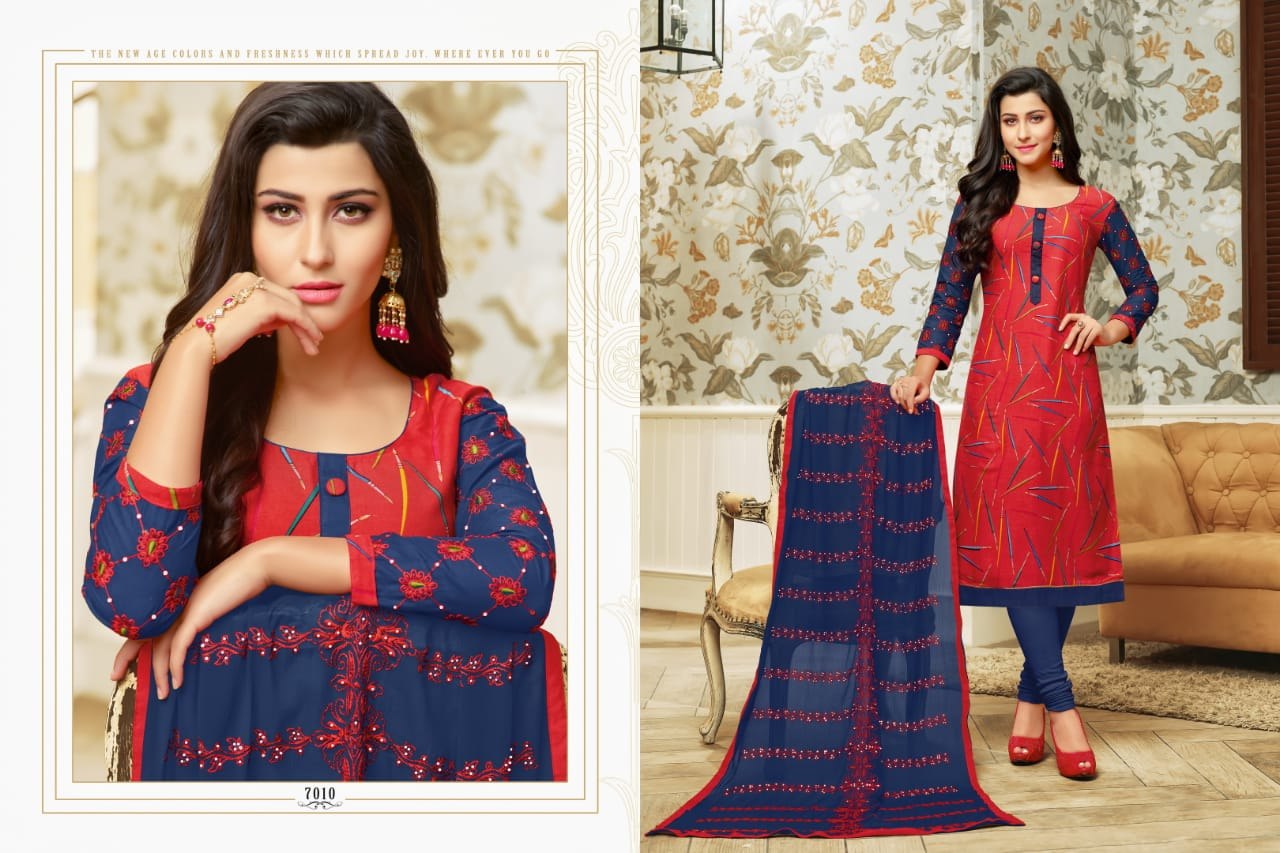 Rr Fashion Ray Rayon Vol 5 Printed Rayon And Cotton With Work Dress Material At Wholesale Rate