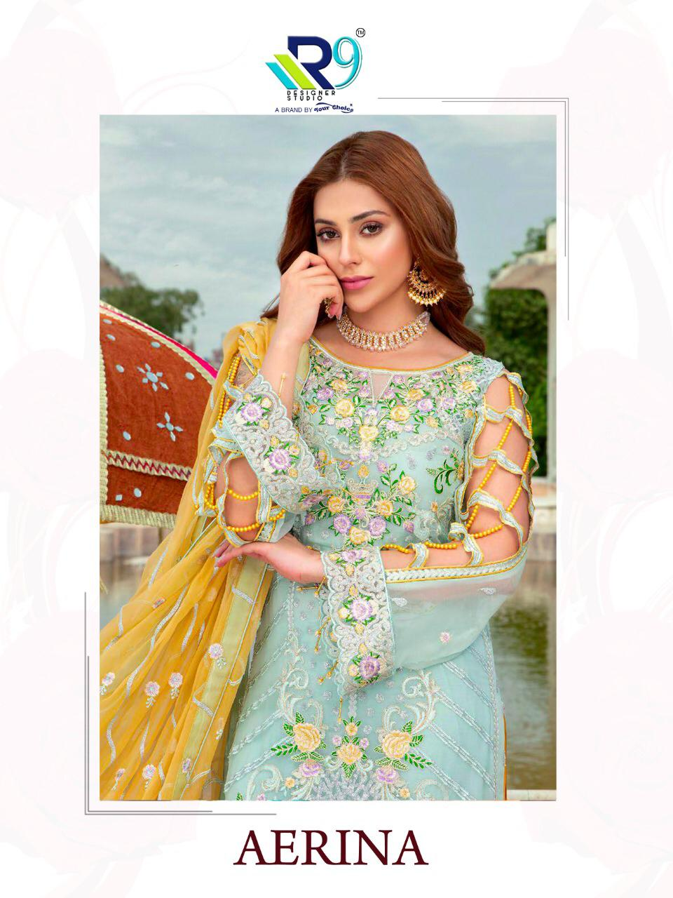 R9 Designer Aerina Heavy Embroidered Faux Georgette And Net Pakistani Dress Material At Wholesale Rate
