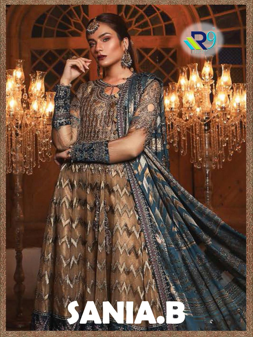 R9 Designer Sania B Heavy Embroidered Faux Georgette And Organza Pakistani Suits Collection Surat