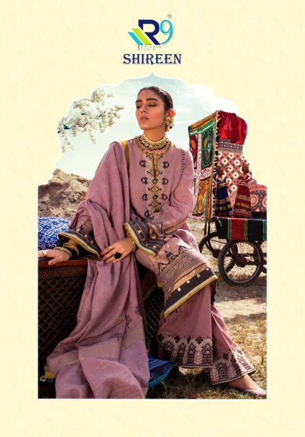 R9 Designer Shireen Printed Satin Cotton With Embroidery Work Pakistani Suits Collection Surat