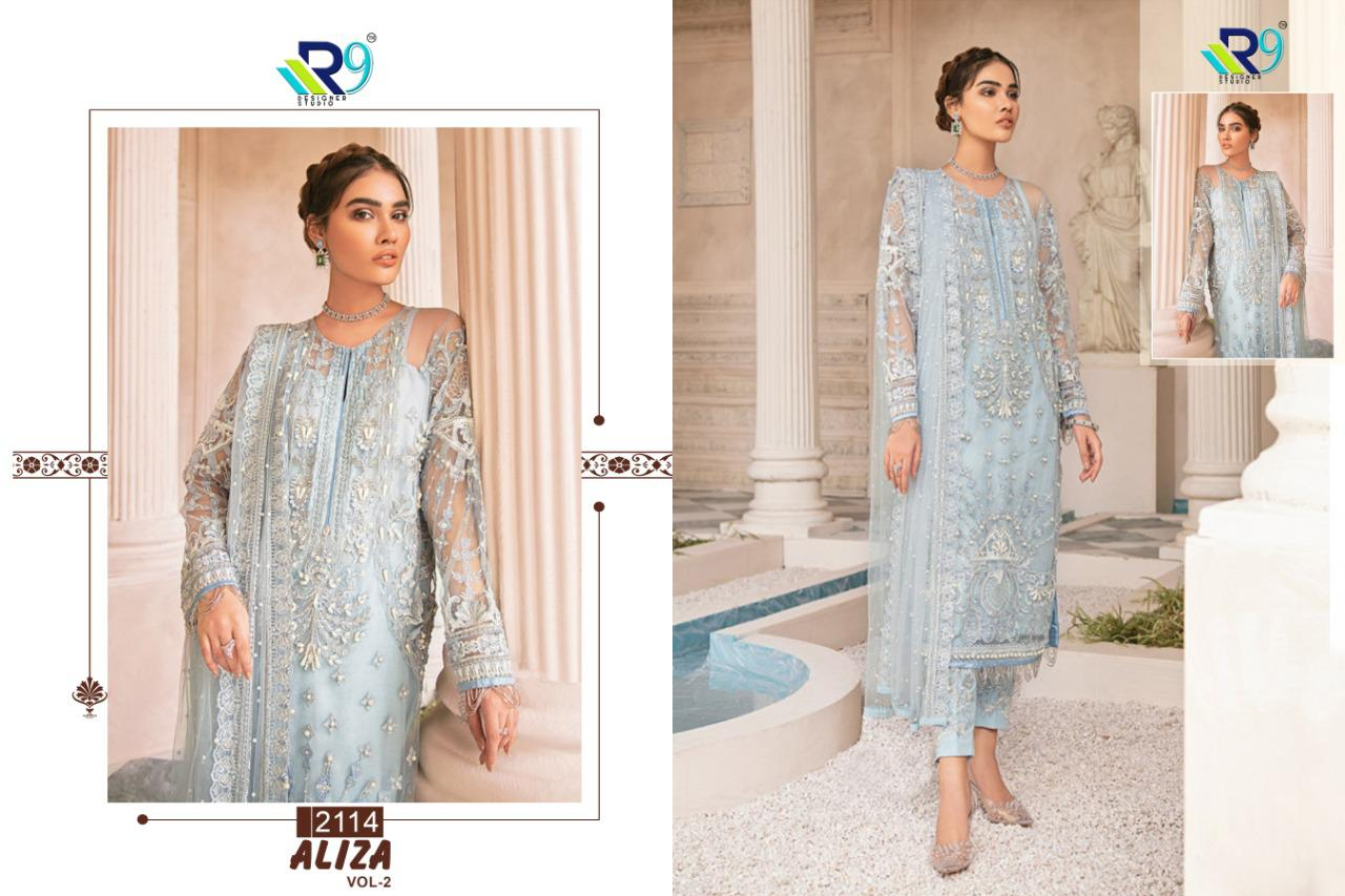 R9 Designer Aliza Vol 2 Net And Georgette With Heavy Embroidery Work Pakistani Dress Material Collection At Wholesale Rate