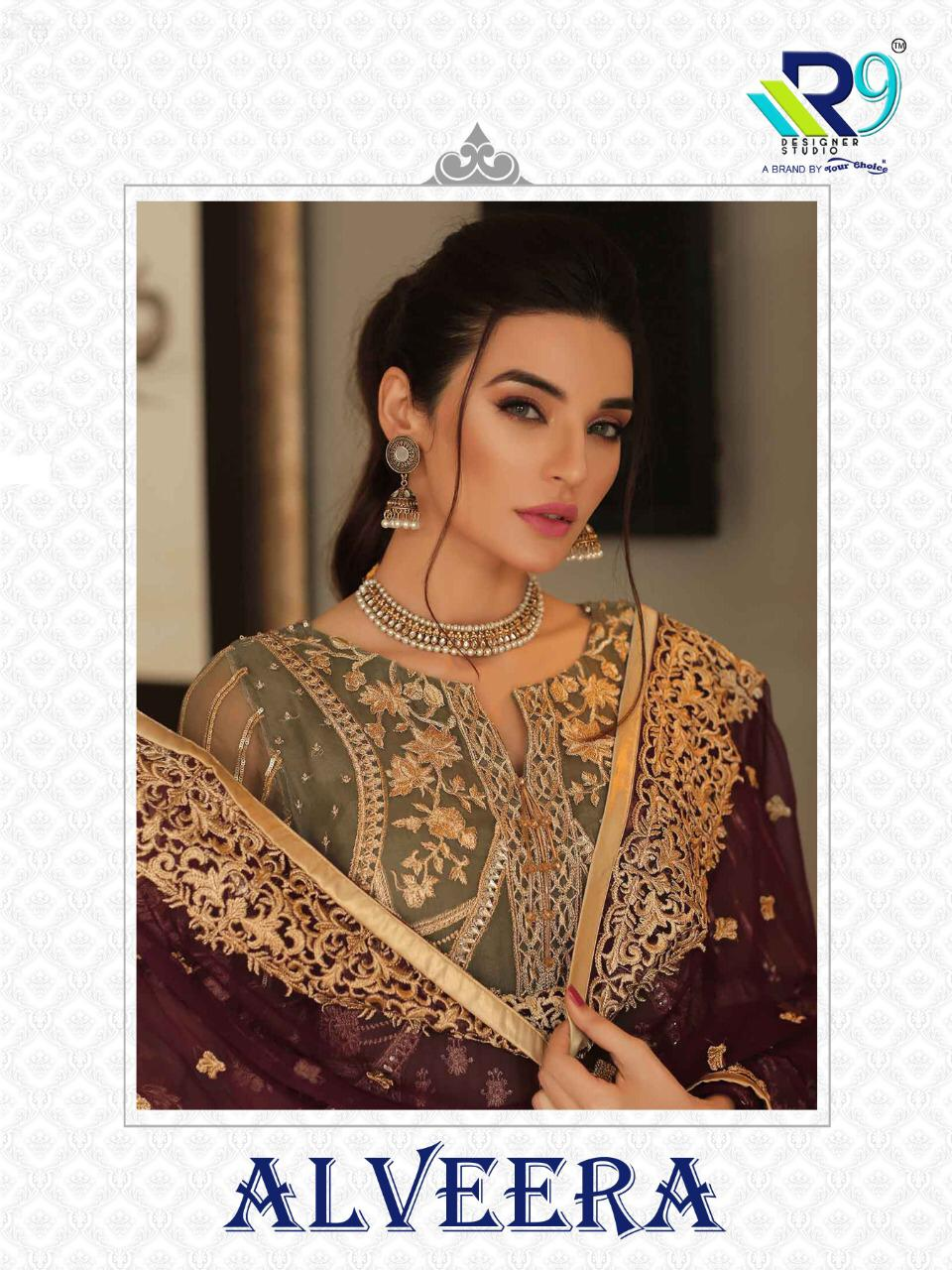 R9 Designer Alveera Net With Heavy Embroidery And Moti Lace Pakistani Dress Material At Wholesale Rate