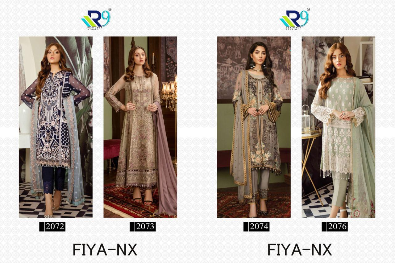 R9 Designer Fiya Nx Faux Georgette With Heavy Embroidery Work Pakistani Dress Material At Wholesale Rate