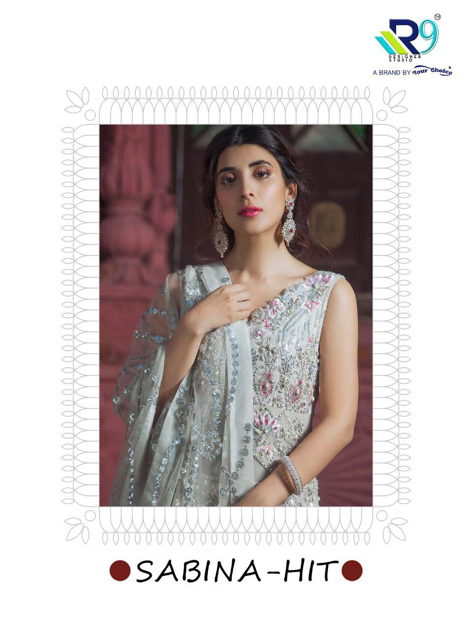 R9 Designer Sabina Faux Georgette With Heavy Embroidery And Handwork Pakistani Dress Material At Wholesale Rate
