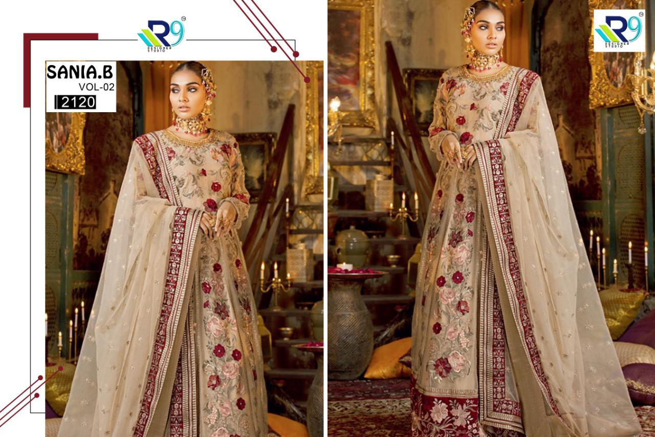 R9 Designer Sania B Vol 2 Faux Georgette With Heavy Embroidery Work Bridal Pakistani Dress Material Collection At Wholesale Rate