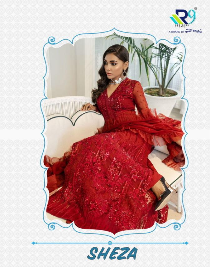 R9 Designer Sheza Net With Heavy Embroidery Work Pakistani Dress Material At Wholesale Rate