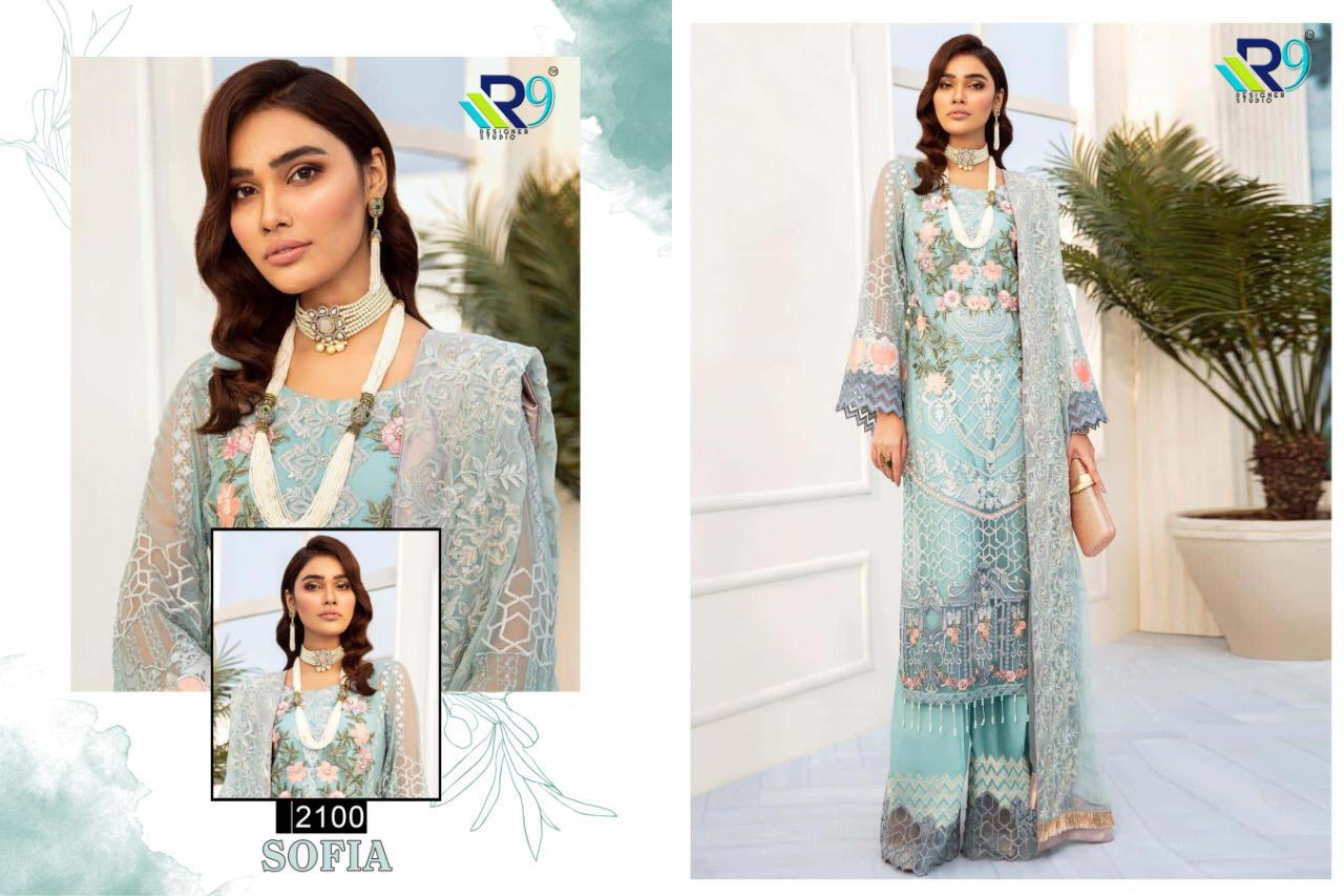 R9 Designer Sofia Georgette Net With Embroidery Work Pakistani Dress Material At Wholesale Rate