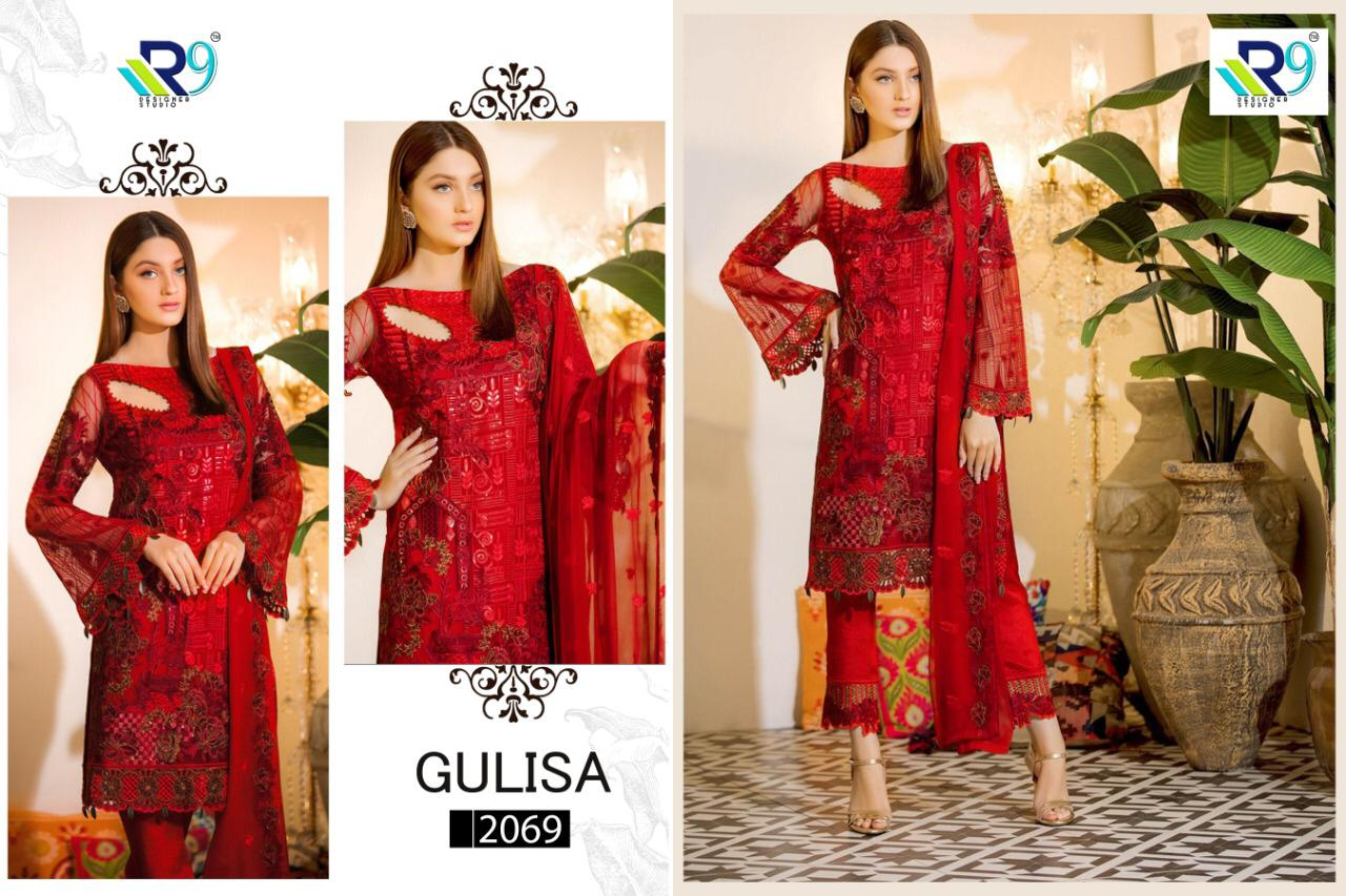 R9 Designer Gulisa Heavy Embroidered Faux Georgette And Net Pakistani Dress Material Collection Surat