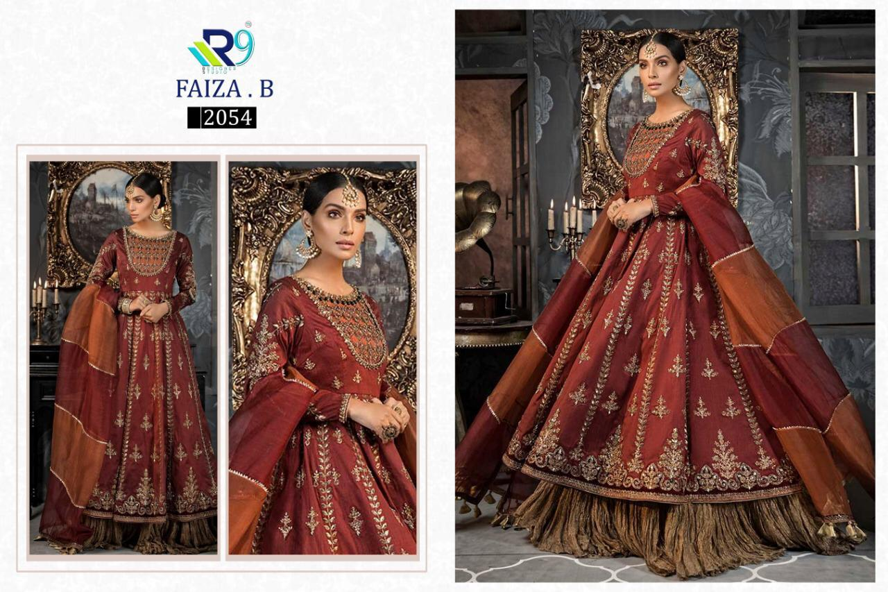 R9 Designer Faiza B Designer Heavy Embroidery Faux Georgette Net And Organza Pakistani Suits At Wholesale Rate