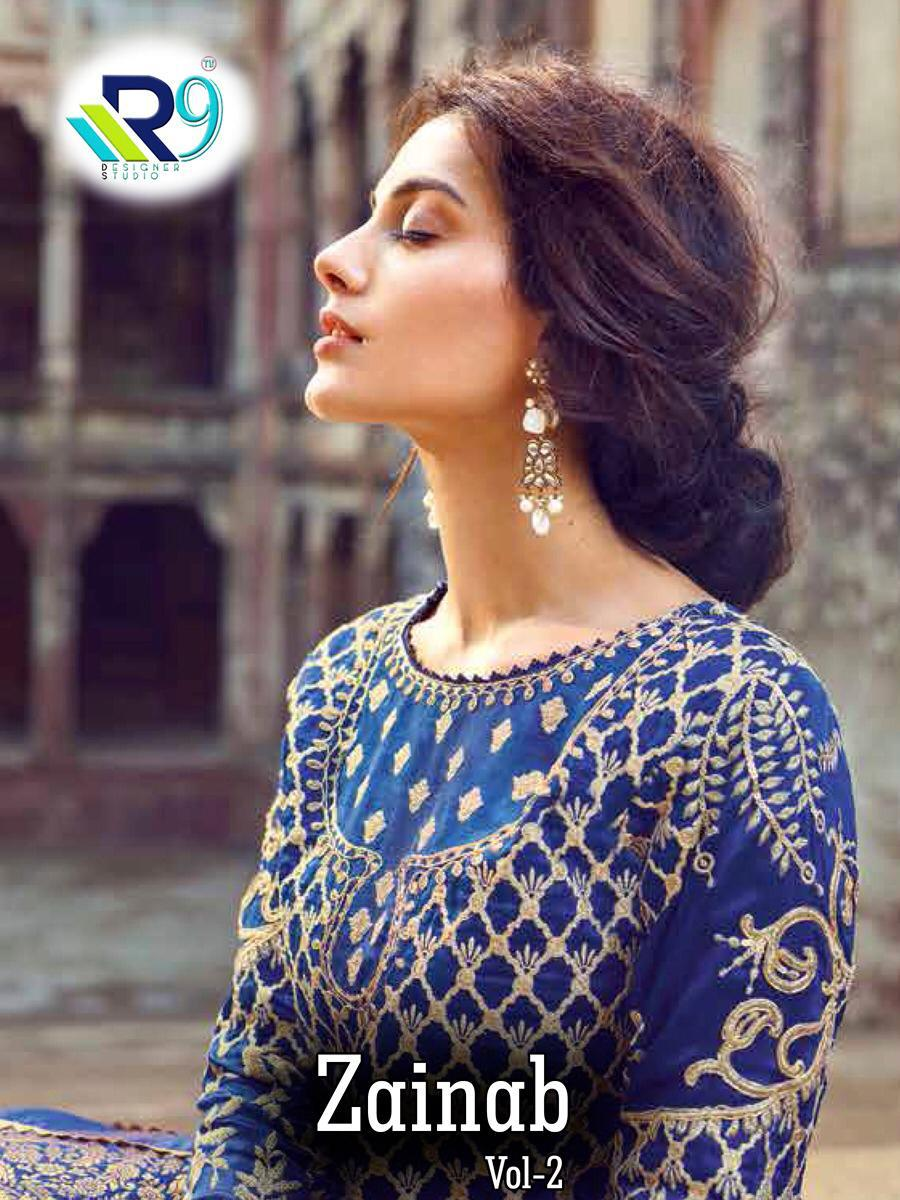 R9 Designer Zainab Vol 2 Faux Georgette And Pure Cotton With Heavy Embroidery Work Pakistani Suits Collection At Wholesale Rate