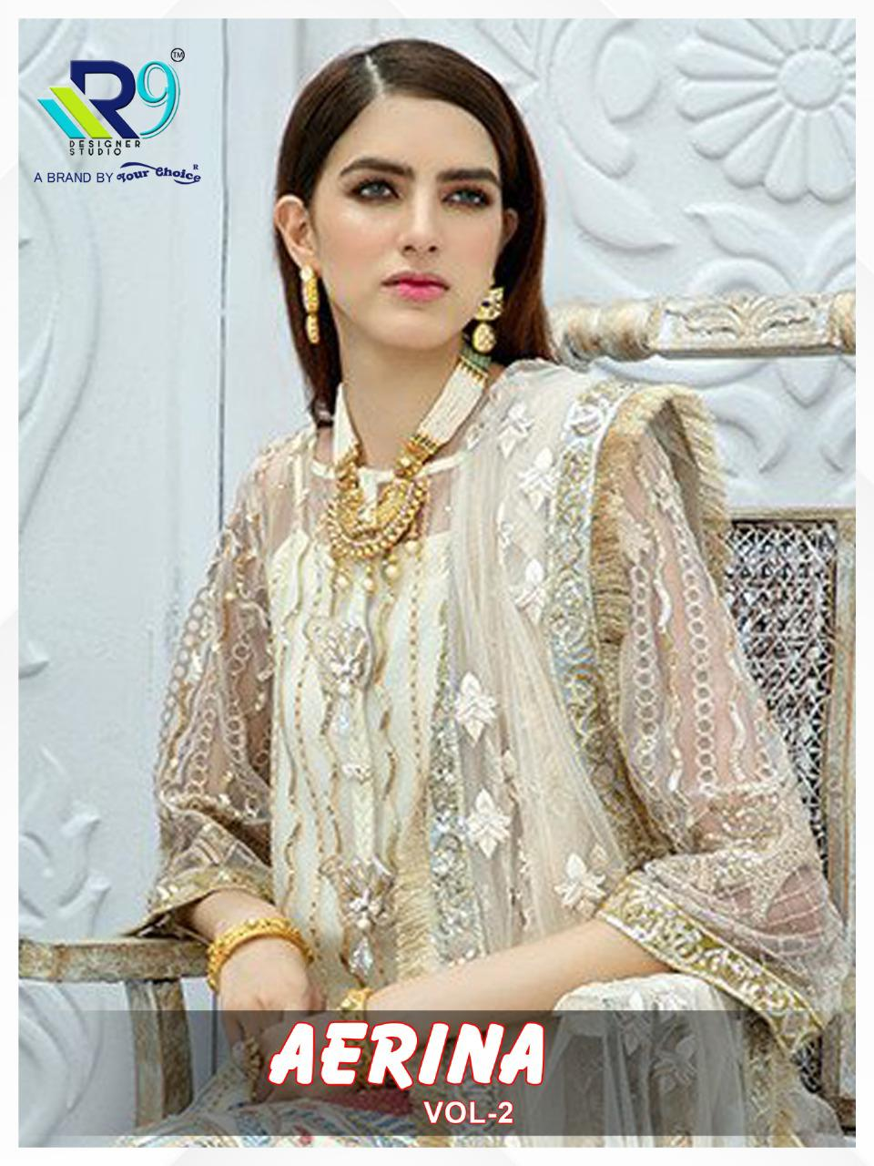 R9 Designer Aerina Vol 2 Organza And Net With Embroidery Work Pakistani Dress Material At Wholesale Rate