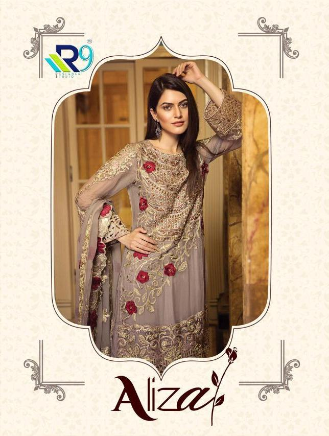 R9 Designer Aliza Designer Faux Georgette With Heavy Embroidery Work Pakistani Suits Collection Surat