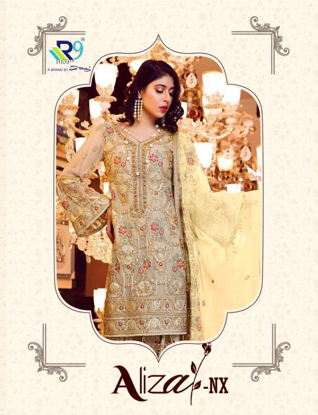 R9 Designer Aliza Nx Faux Georgette With Heavy Embroidery Work Pakistani Dress Material Collection At Wholesale Rate